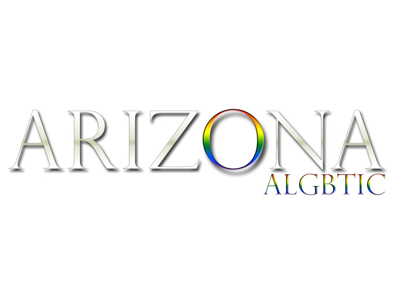 Arizona ALGBTIC logo with the 'O' in Arizona supporting the PRIDE colors