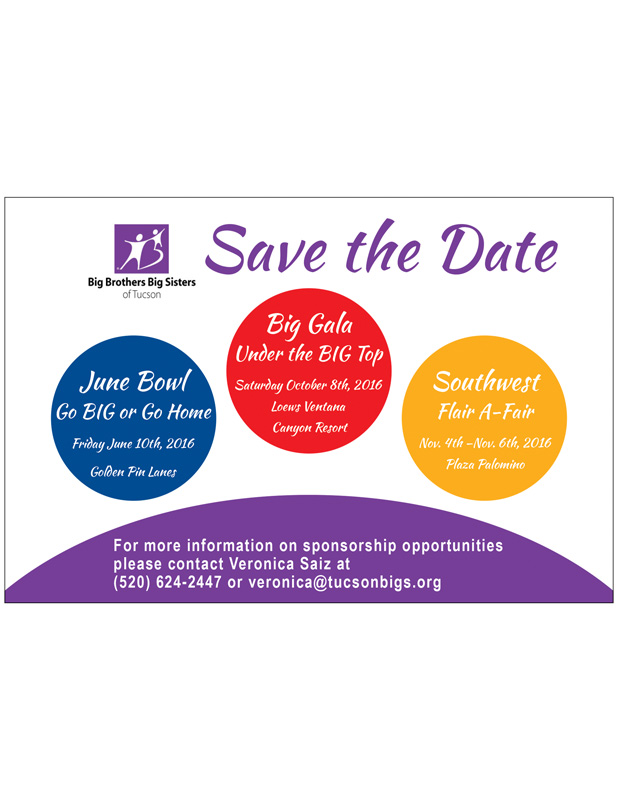 Promotional Flyer to promote 3 Events for Big Brothers Big Sisters