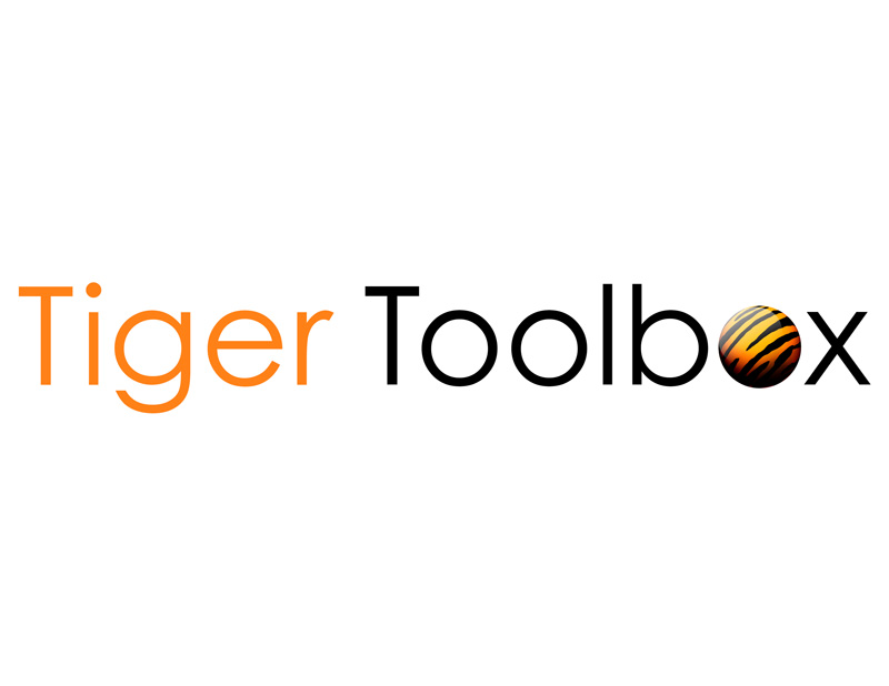 Tiger Toolbox logo with a sphere that has tiger stripes