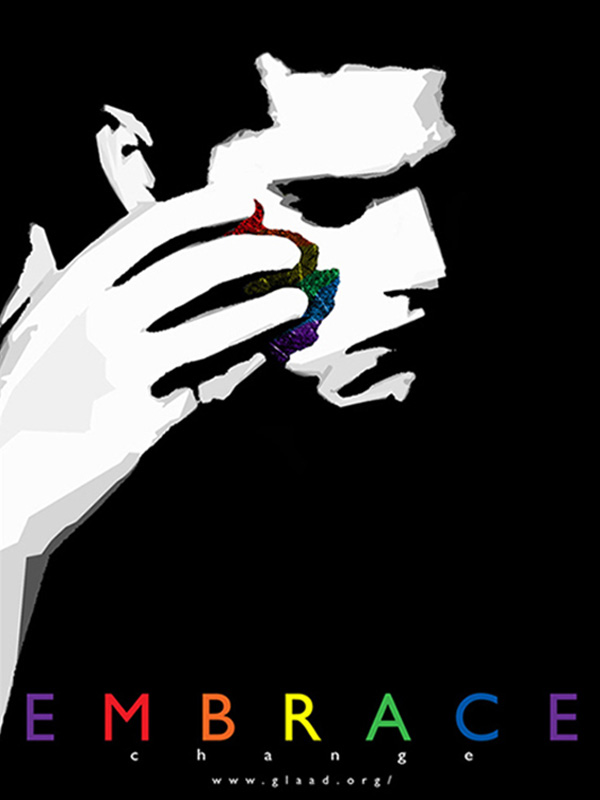 Black and white image of person wiping face to reveal PRIDE colors underneath